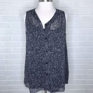 New Eileen Fisher Printed Silk Button Down Top M